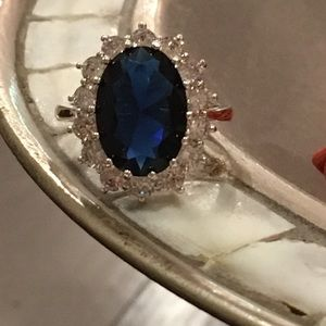 Jewelry - Faux Sapphire & Crystal Silver Ring